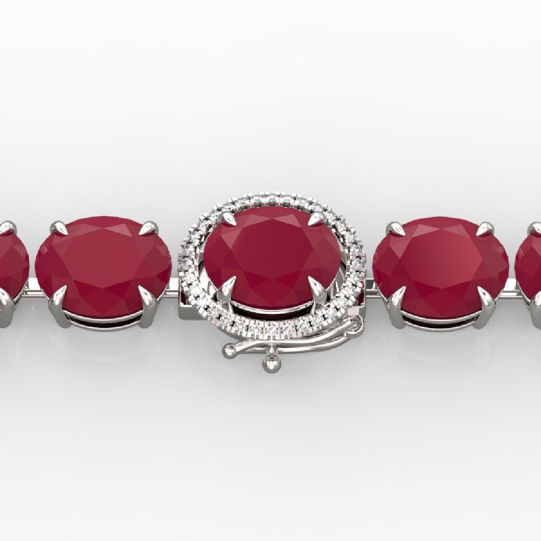 75 CTW Ruby & Micro Pave VS/SI Diamond Halo Bracelet