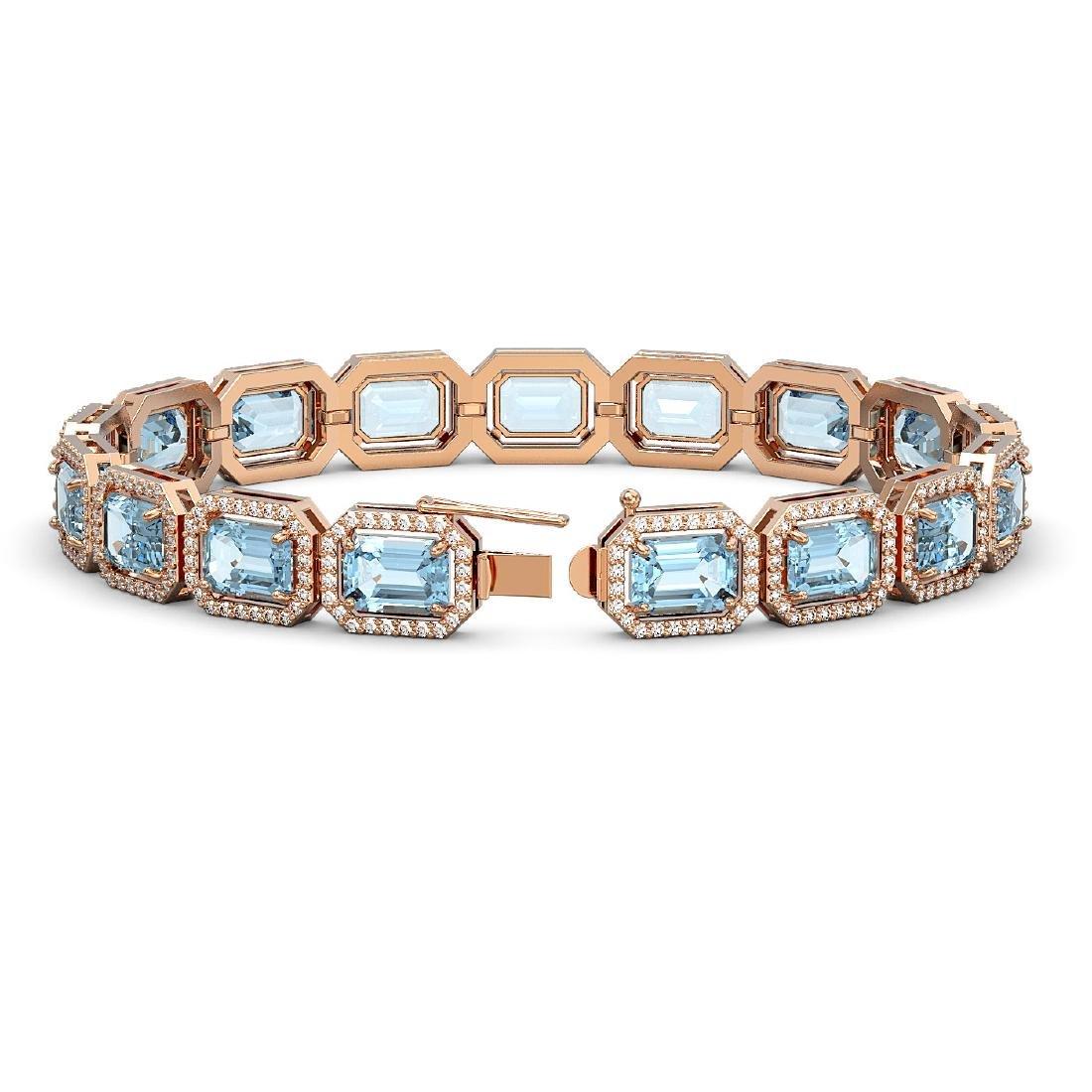 24.51 CTW Aquamarine & Diamond Halo Bracelet 10K Rose - 2