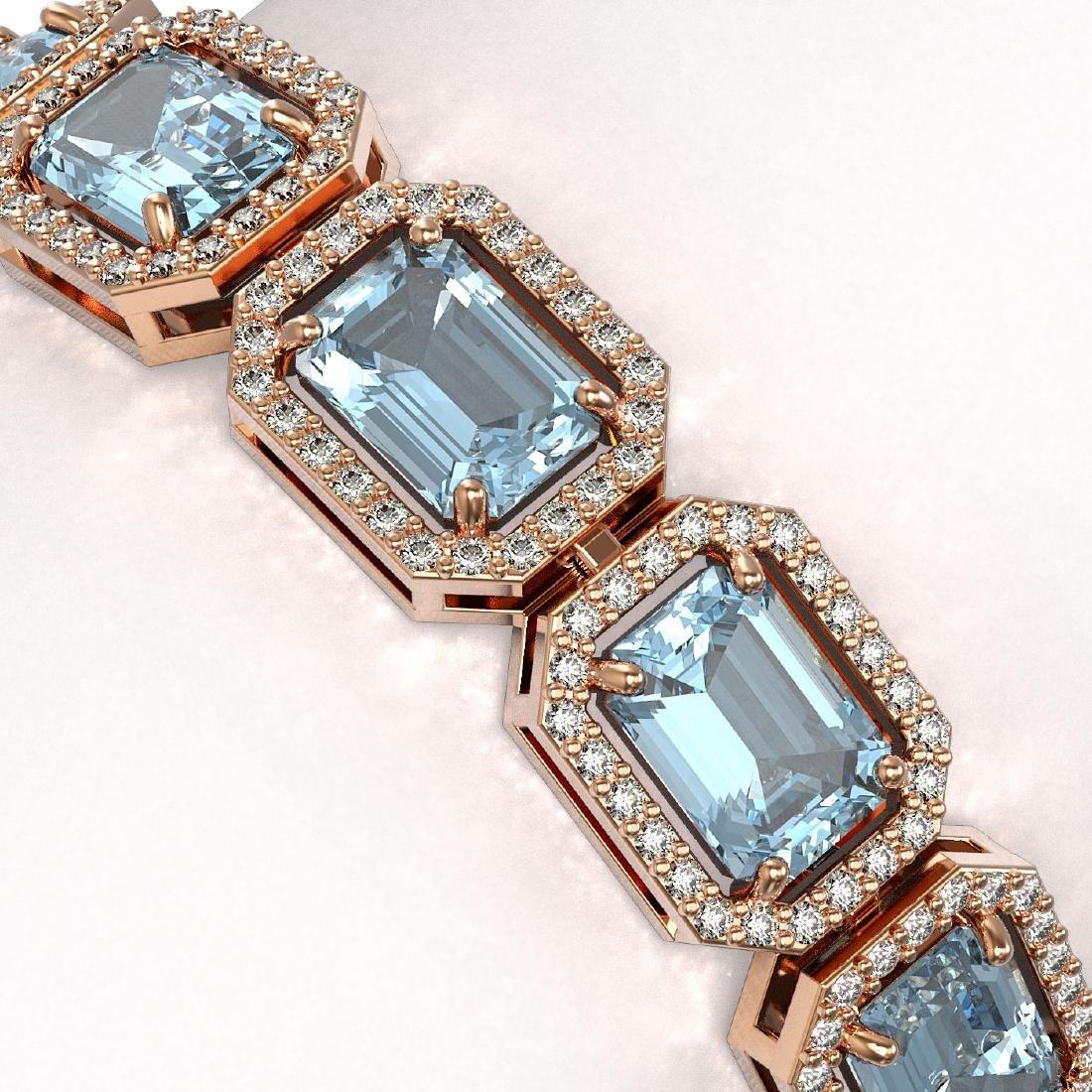 24.51 CTW Aquamarine & Diamond Halo Bracelet 10K Rose - 3