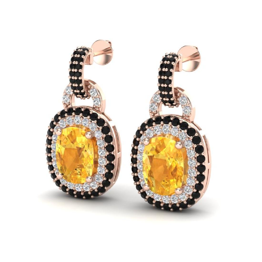 5 CTW Citrine & Black Micro Pave VS/SI Diamond Earrings