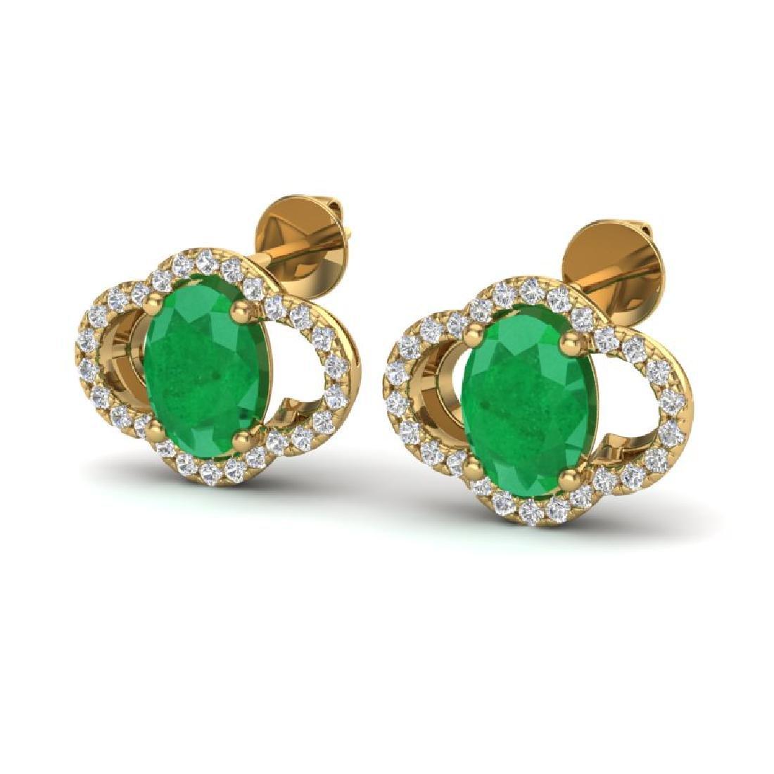 4 CTW Emerald & Micro Pave VS/SI Diamond Earrings 10K