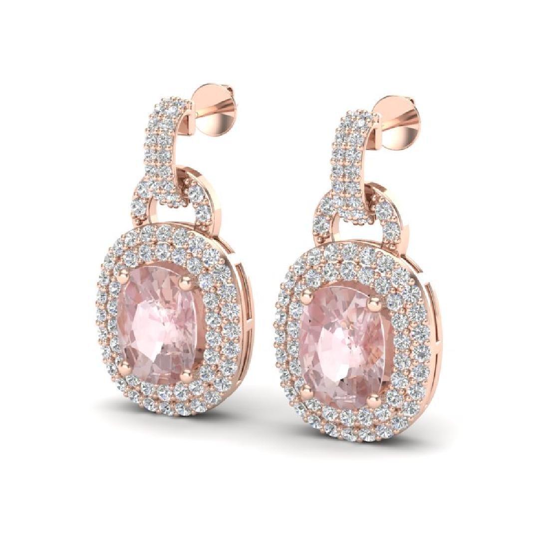 5 CTW Morganite & Black Micro VS/SI Diamond Earrings