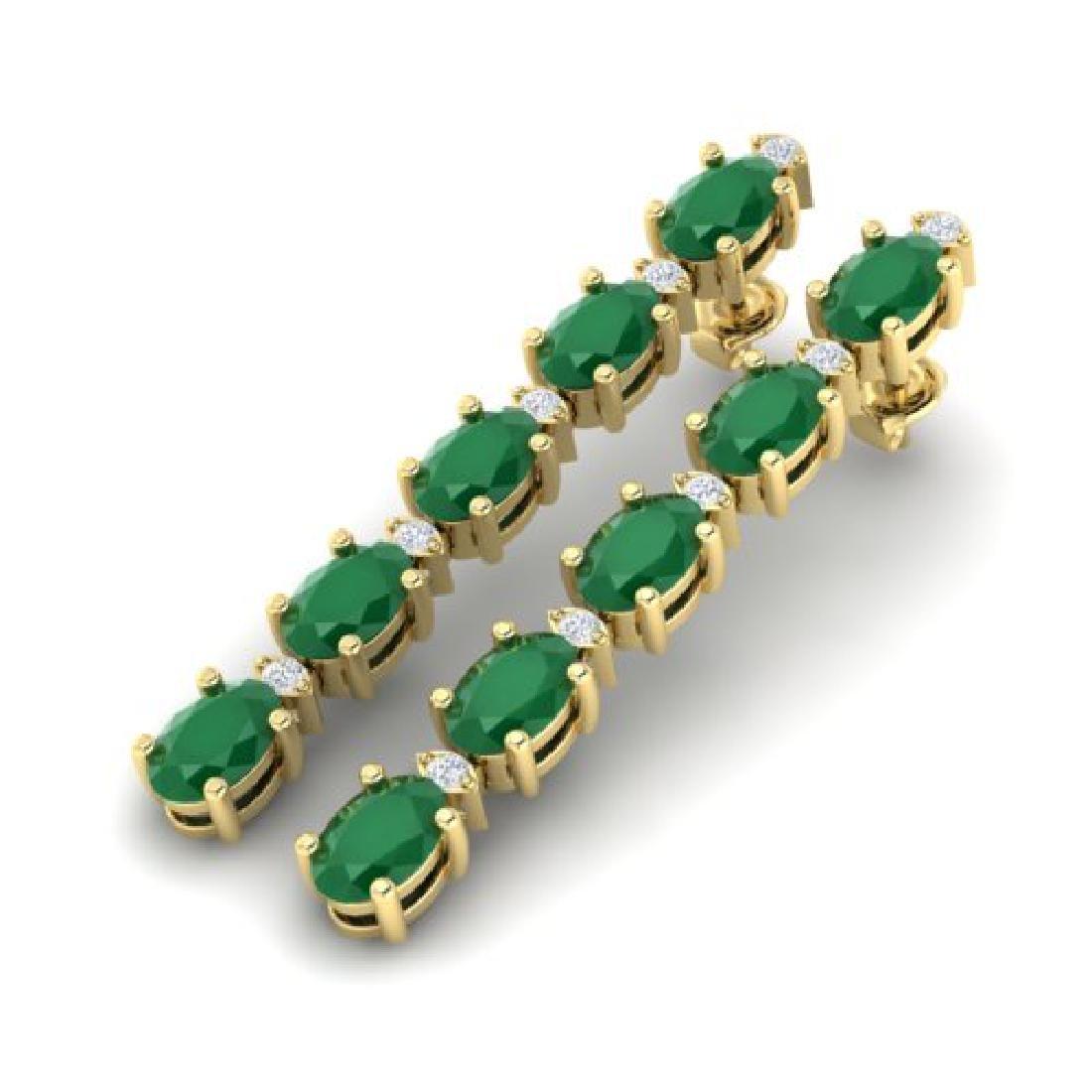7 CTW Emerald & VS/SI Diamond Tennis Earrings 10K