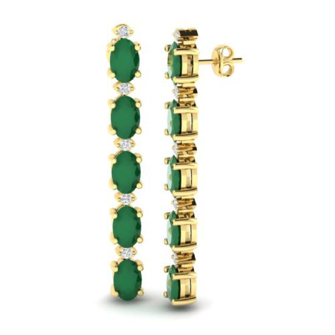 7 CTW Emerald & VS/SI Diamond Tennis Earrings 10K - 2