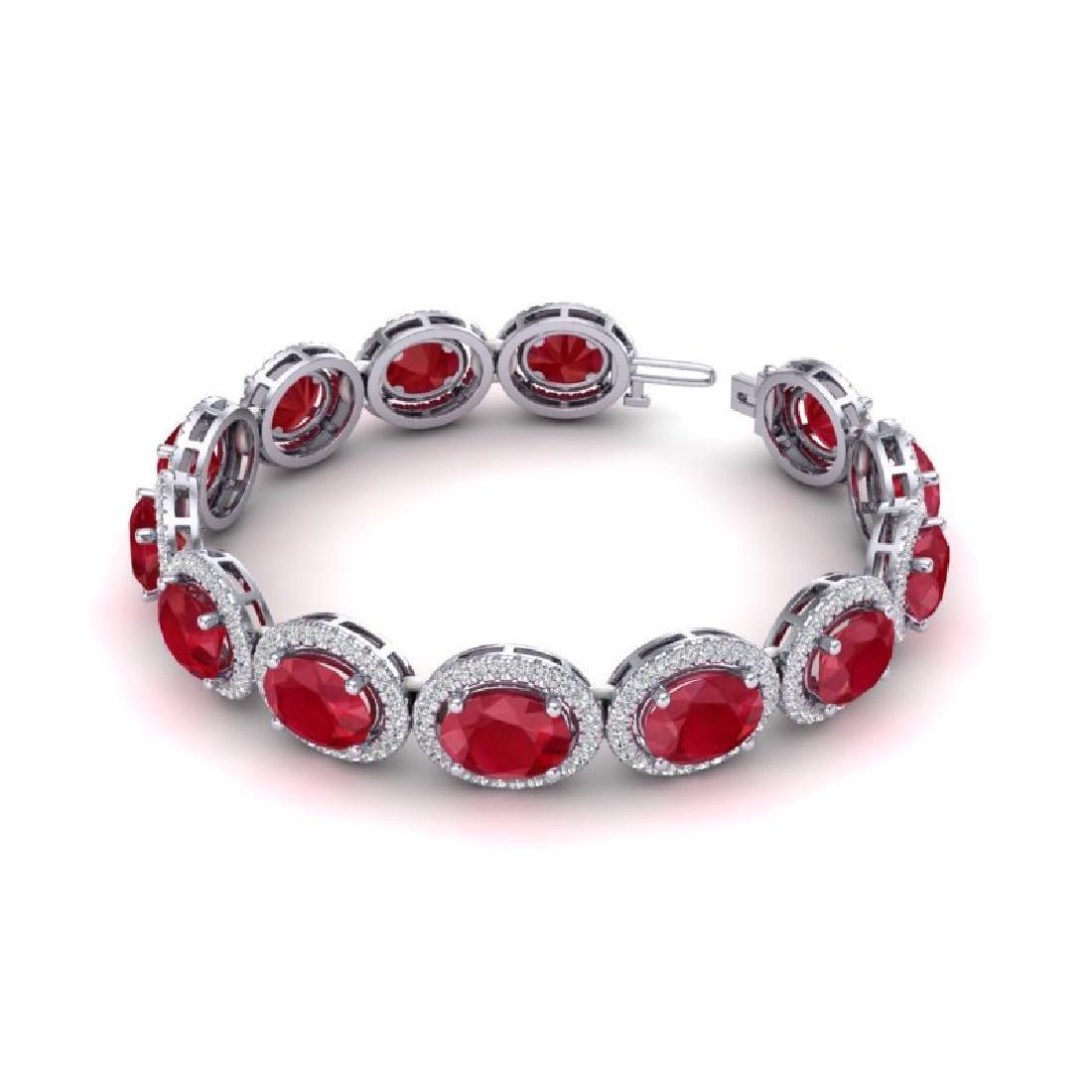 30 CTW Ruby & Micro Pave VS/SI Diamond Bracelet 10K - 2