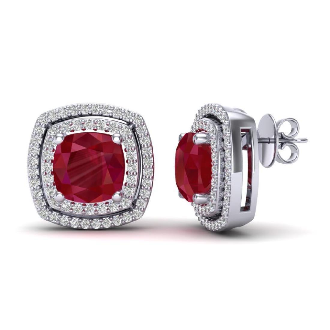 4.95 CTW Ruby & Micro Pave VS/SI Diamond Halo Earrings - 2