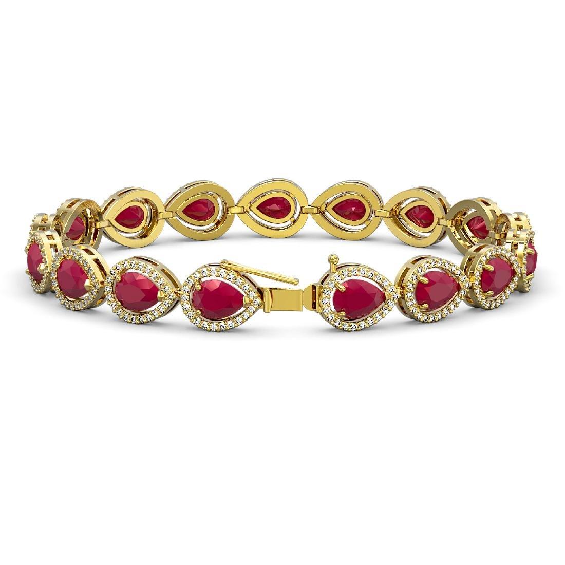 21.69 CTW Ruby & Diamond Halo Bracelet 10K Yellow Gold - 2