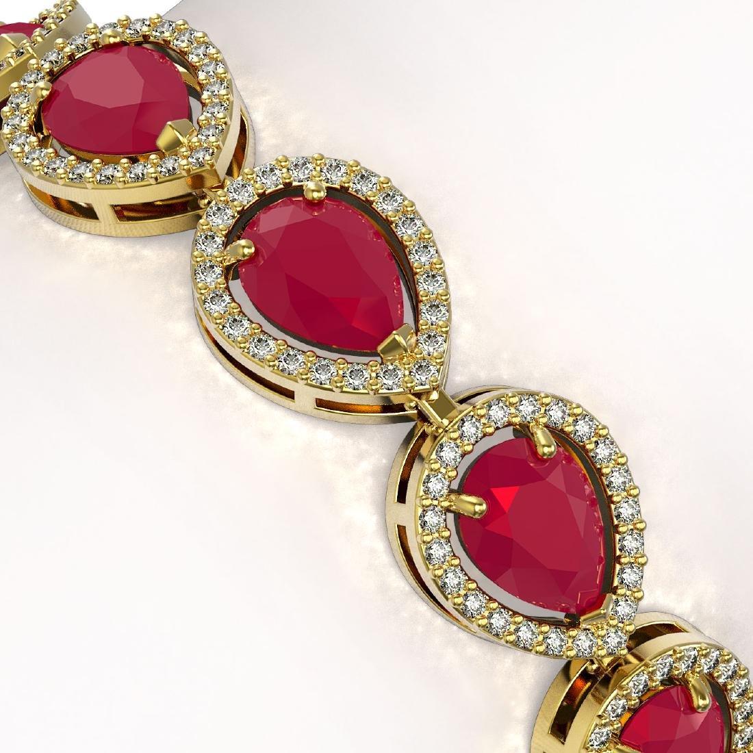 21.69 CTW Ruby & Diamond Halo Bracelet 10K Yellow Gold - 3