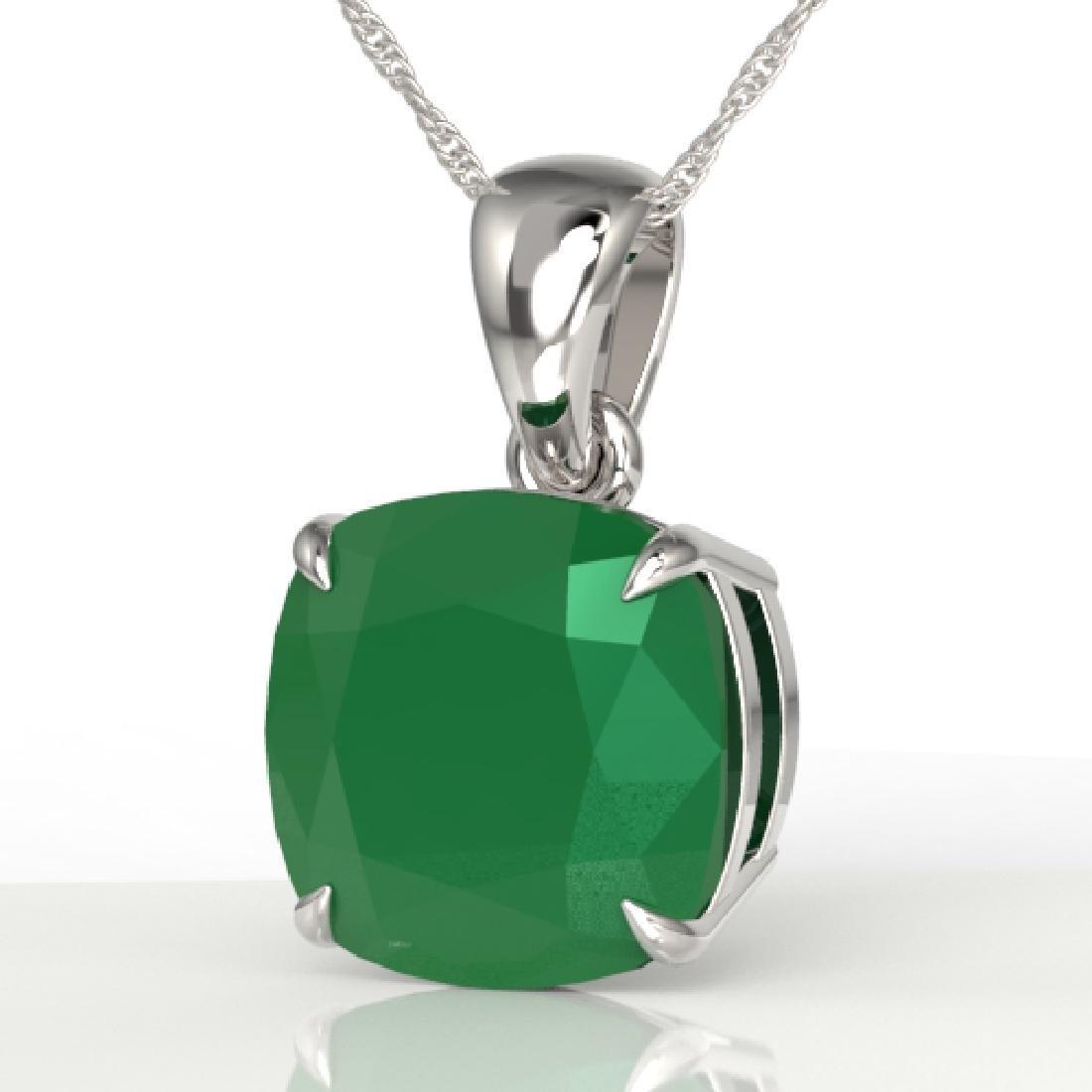 6 CTW Cushion Cut Emerald Designer Solitaire necklace
