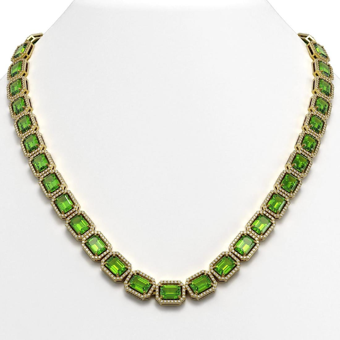 57.3 CTW Peridot & Diamond Halo Necklace 10K Yellow