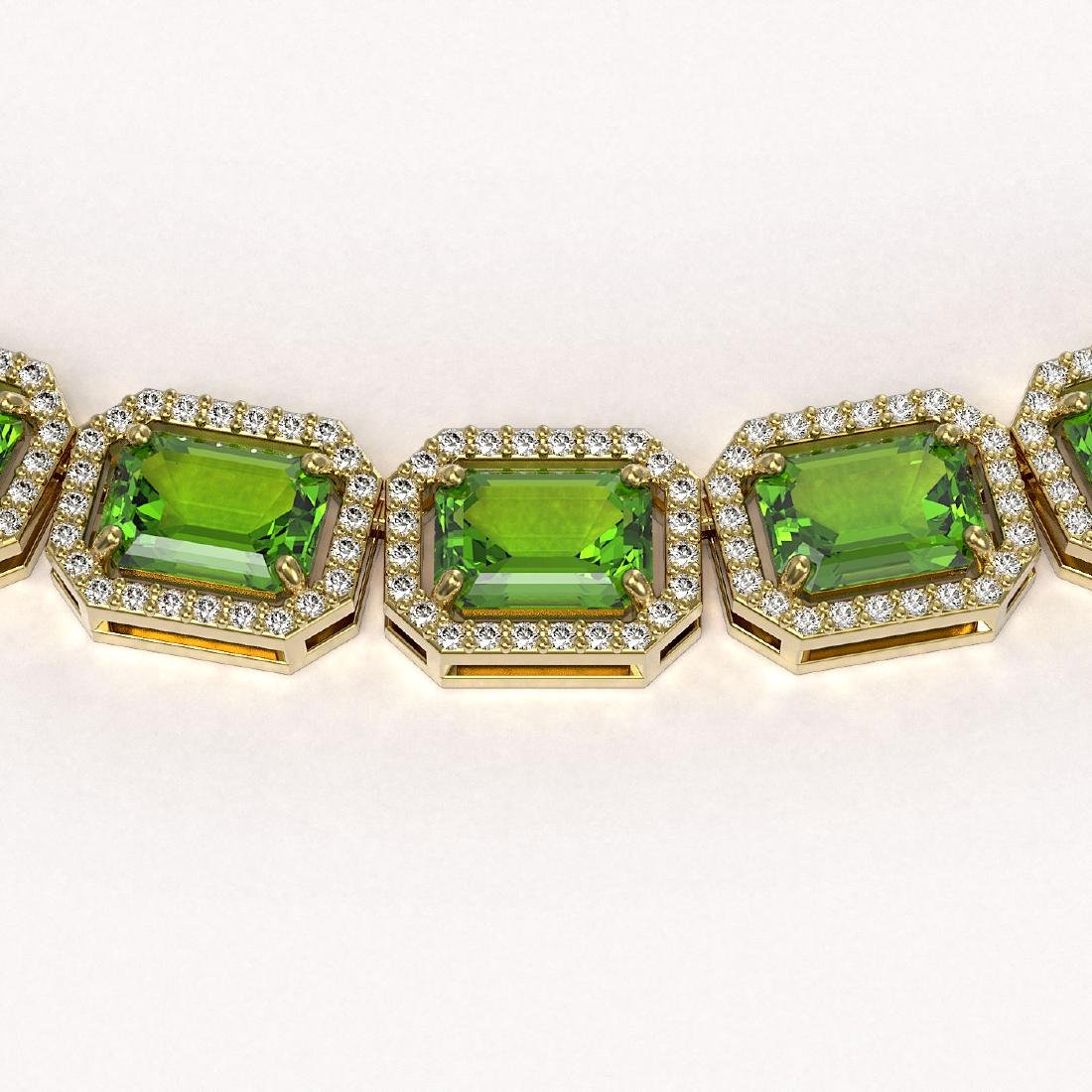 57.3 CTW Peridot & Diamond Halo Necklace 10K Yellow - 3