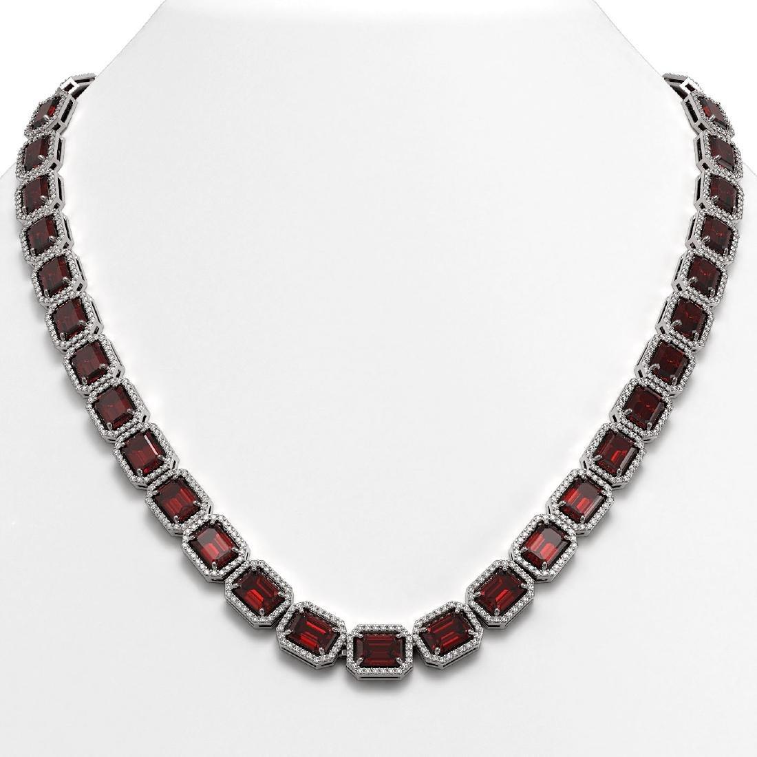 60.59 CTW Garnet & Diamond Halo Necklace 10K White Gold