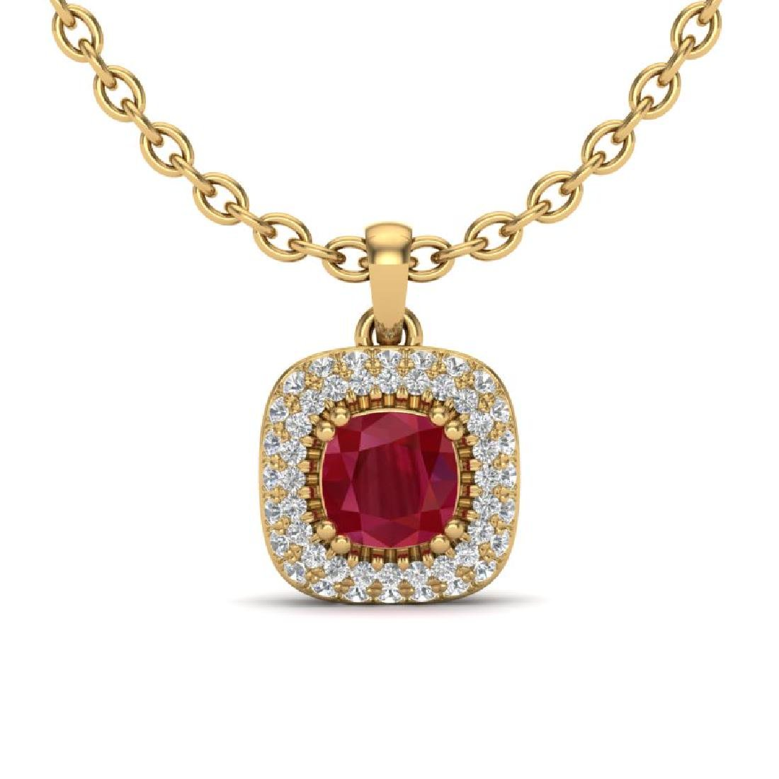 1.08 CTW Ruby & Micro VS/SI Diamond Necklace Halo 18K