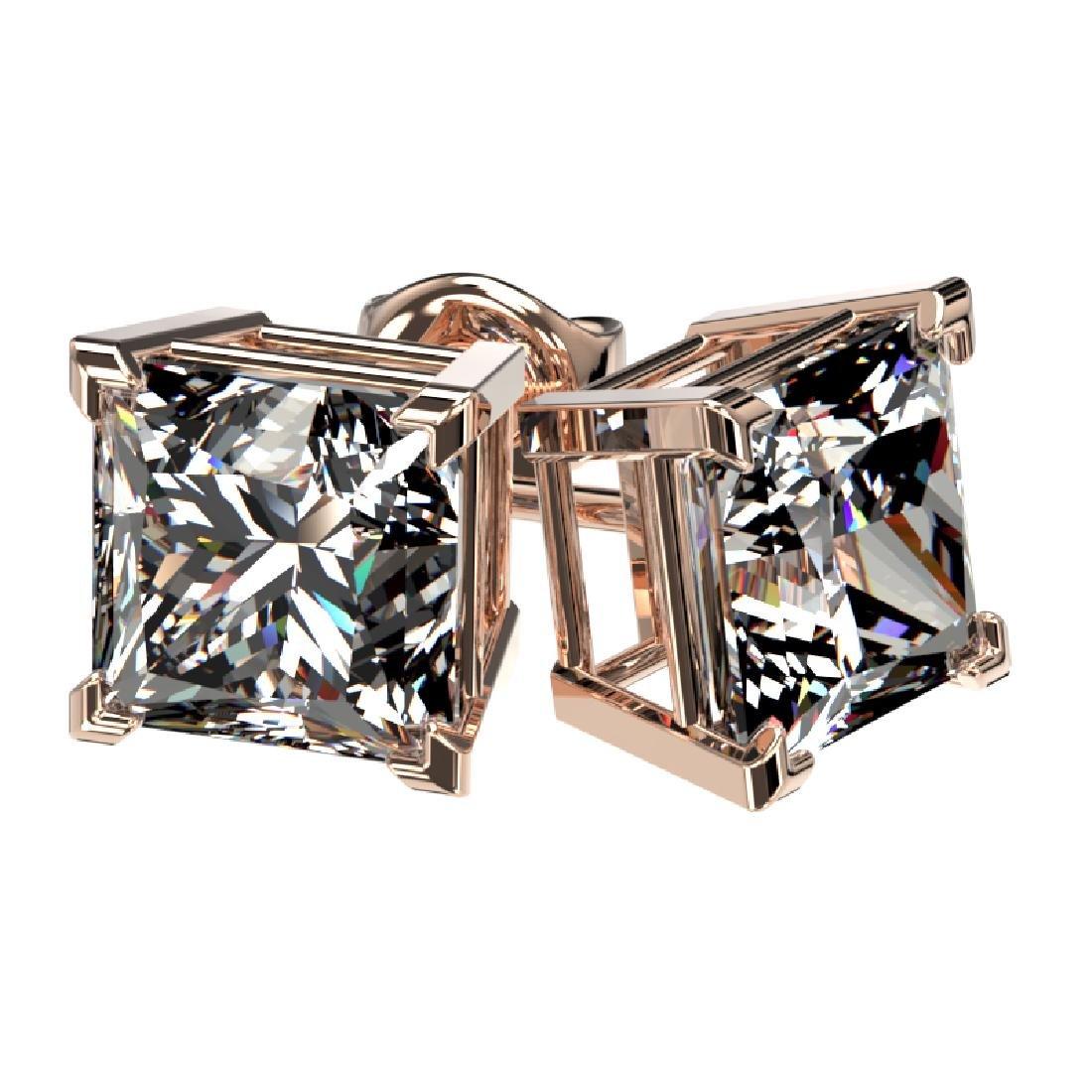 2.50 CTW Certified VS/SI Quality Princess Diamond Stud - 3