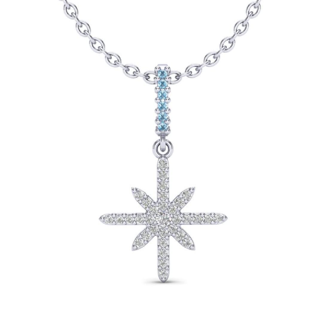 0.38 CTW Micro Pave Blue & White VS/SI Diamond Necklace