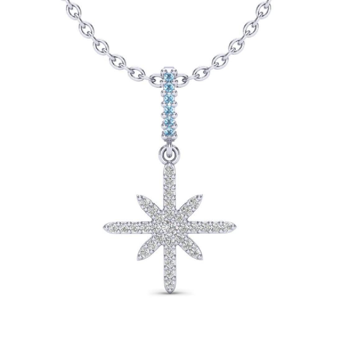 0.38 CTW Micro Pave Blue & White VS/SI Diamond Necklace
