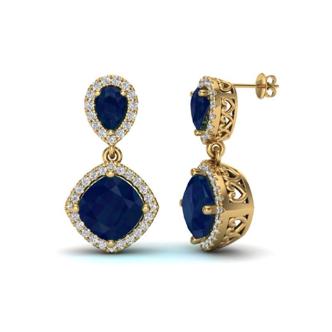 7 CTW Sapphire & Micro Pave VS/SI Diamond Earrings - 2