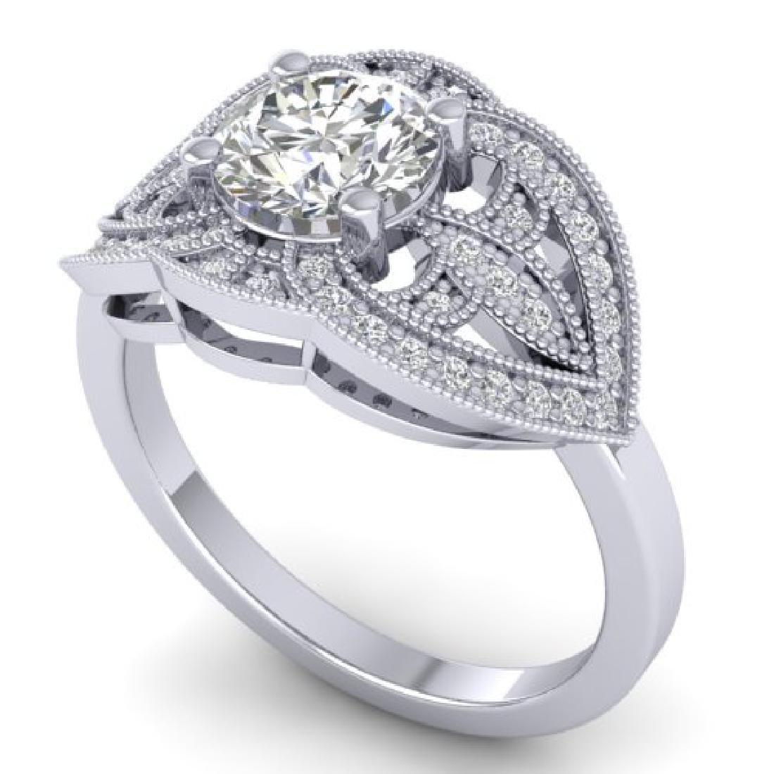 1.5 CTW Certified VS/SI Diamond Art Deco Micro Ring 18K - 2