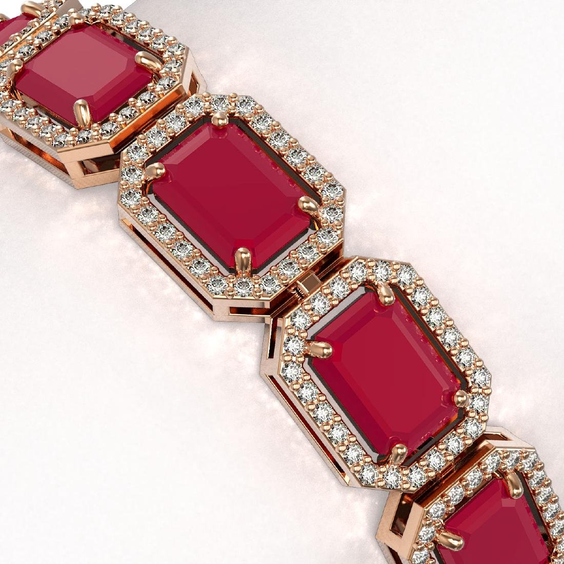 26.21 CTW Ruby & Diamond Halo Bracelet 10K Rose Gold - 3