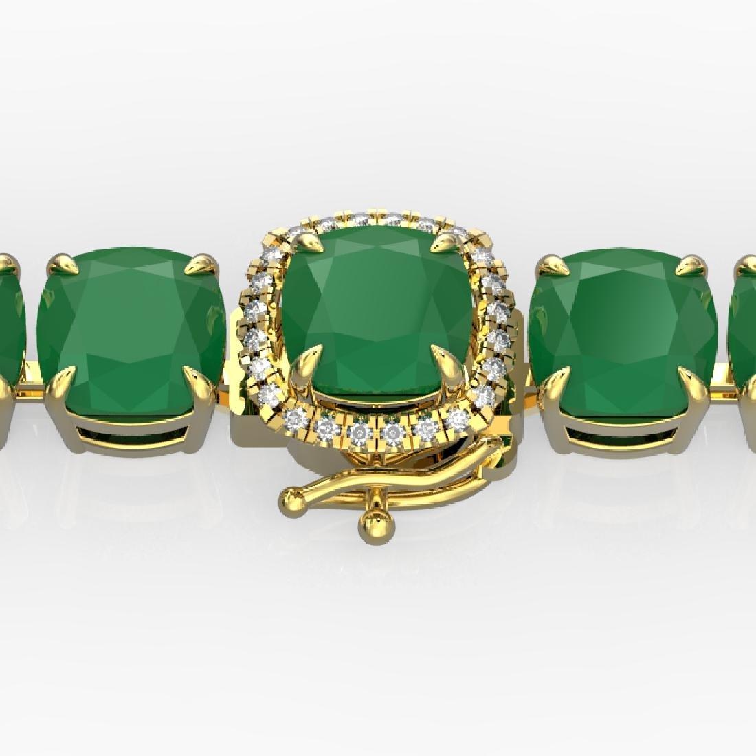 46 CTW Emerald & Micro Pave VS/SI Diamond Halo Bracelet