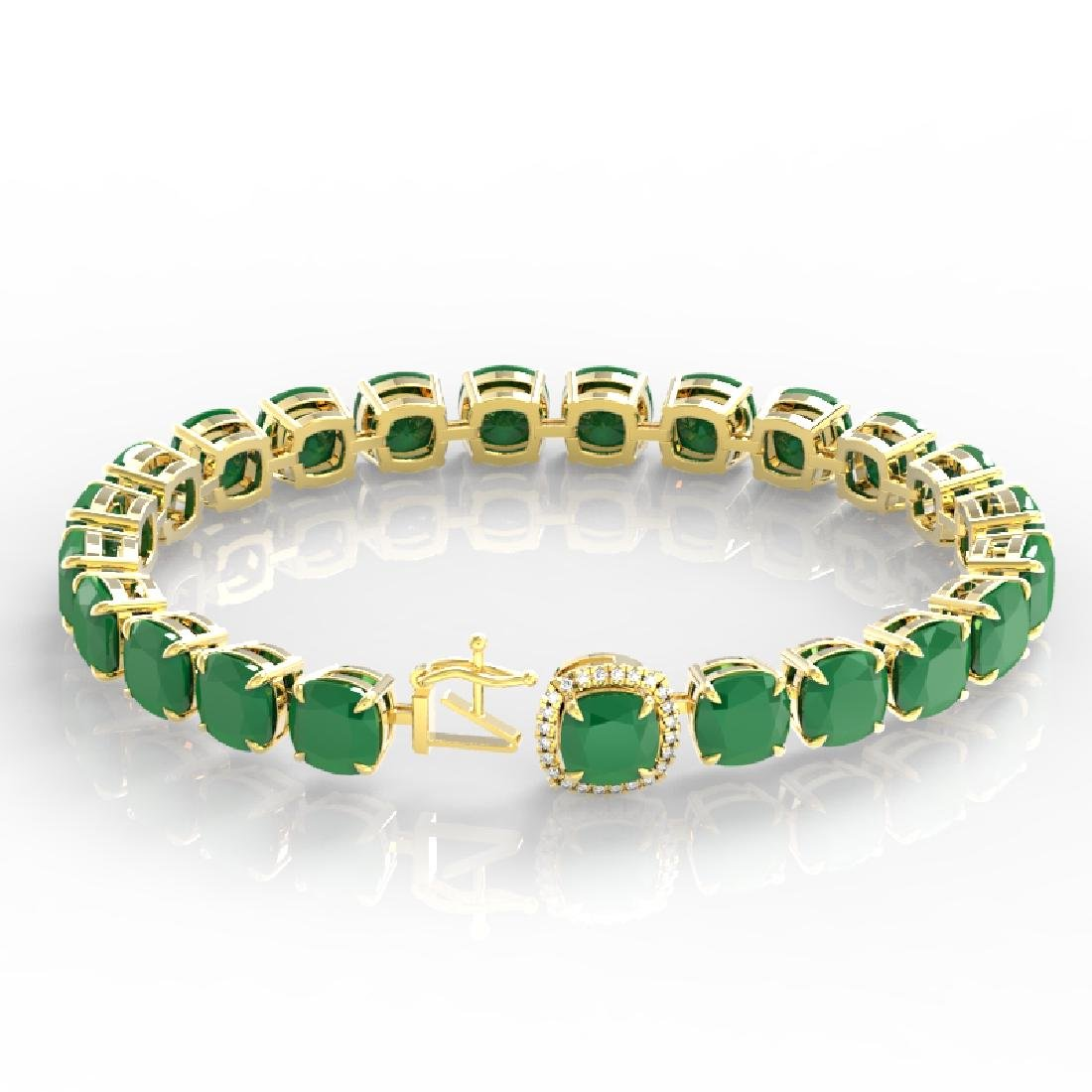 46 CTW Emerald & Micro Pave VS/SI Diamond Halo Bracelet - 3