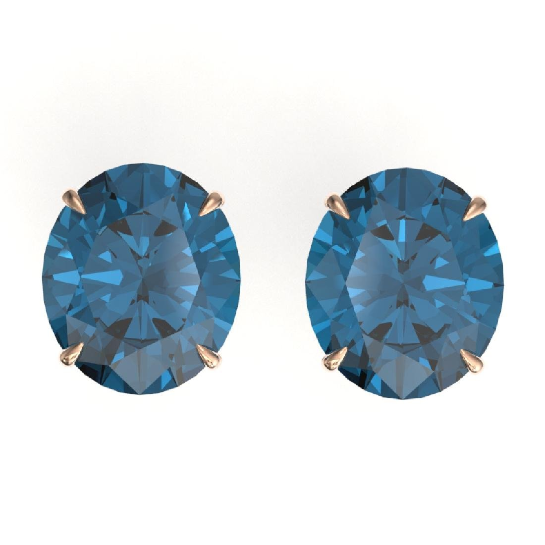 18 CTW London Blue Topaz Designer Solitaire Stud