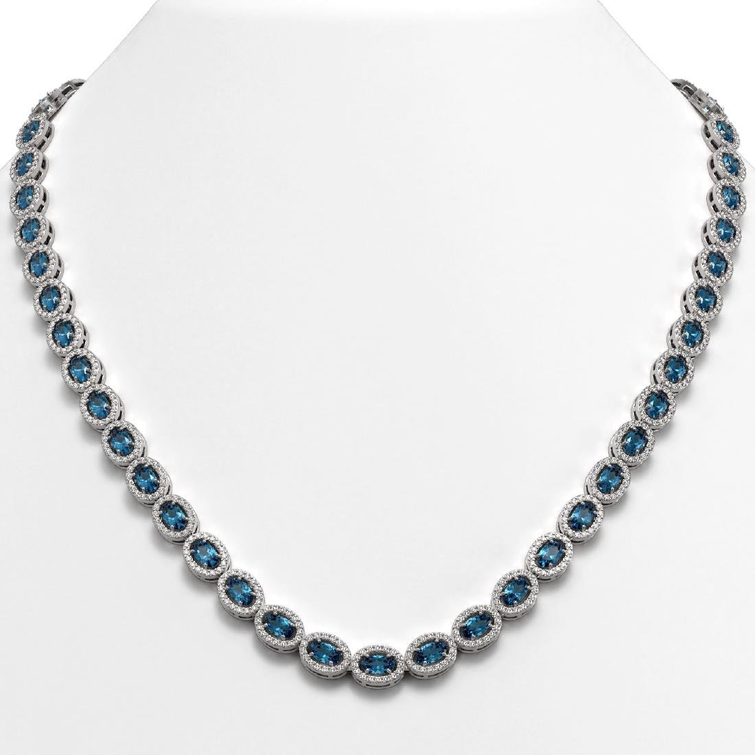 24.07 CTW London Topaz & Diamond Halo Necklace 10K