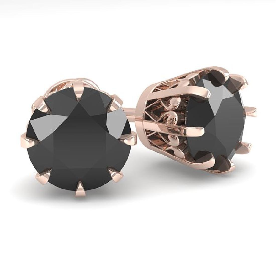3.0 CTW Black Diamond Stud Solitaire Earrings 14K Rose