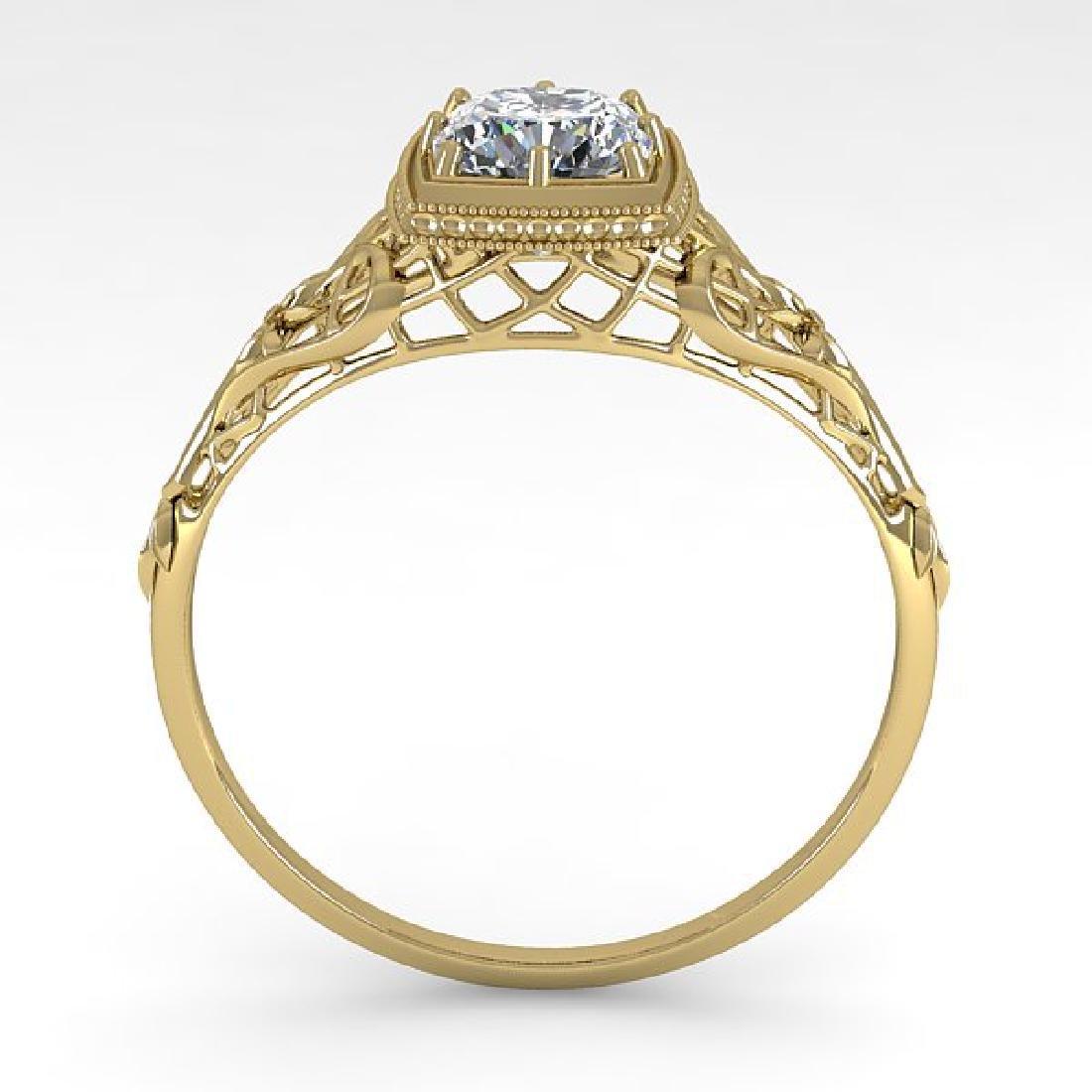 0.50 CTW Certified VS/SI Cushion Diamond Ring Art Deco - 3