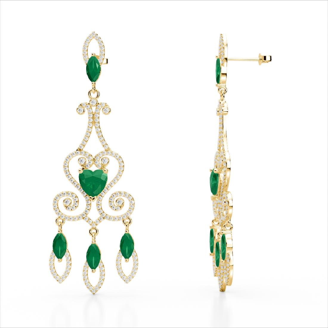 11 CTW Emerald & Micro Pave VS/SI Diamond Earrings 14K - 3