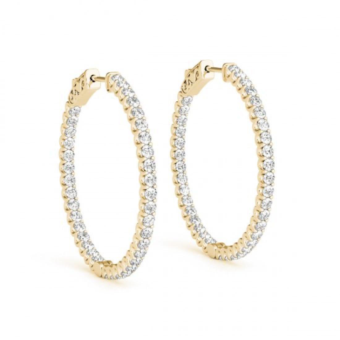 1.25 CTW Diamond VS/SI Certified 25 Mm Hoop Earrings - 2