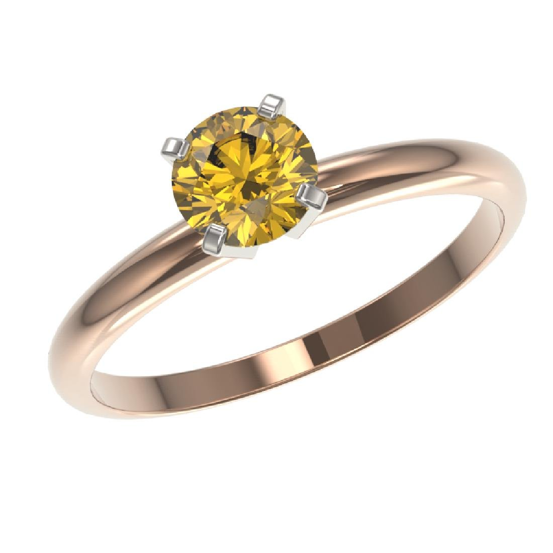 0.76 CTW Certified Intense Yellow SI Diamond Solitaire - 2