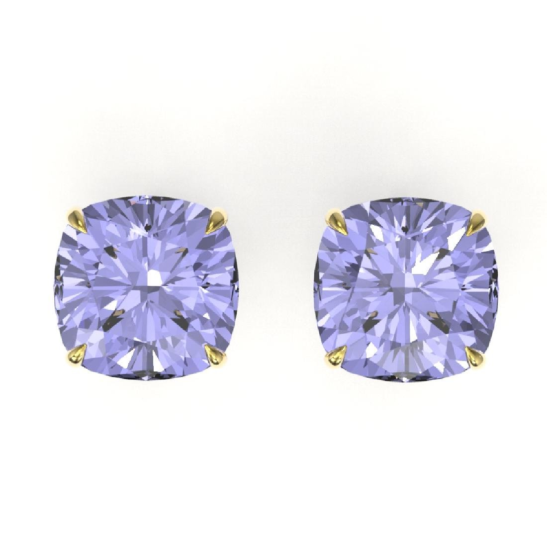 12 CTW Cushion Cut Tanzanite Designer Solitaire Stud