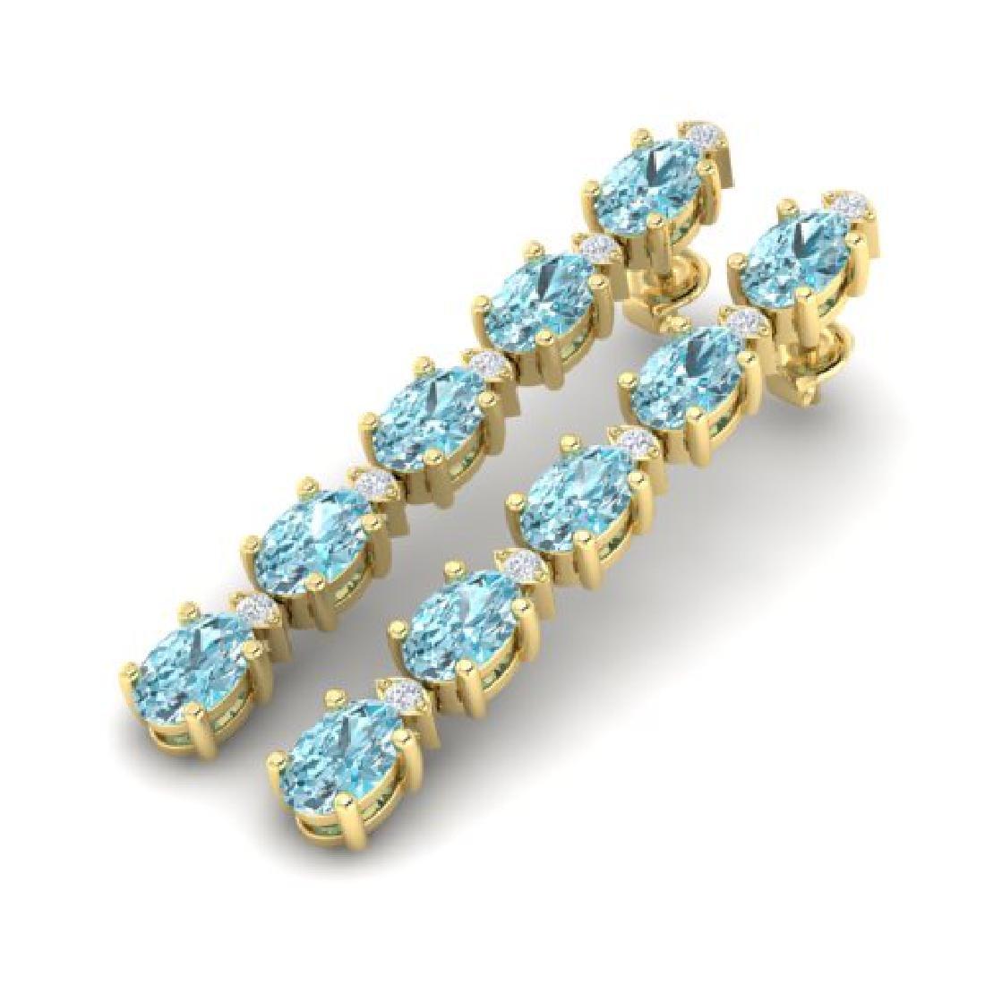 6 CTW Sky Blue Topaz & VS/SI Diamond Tennis Earrings