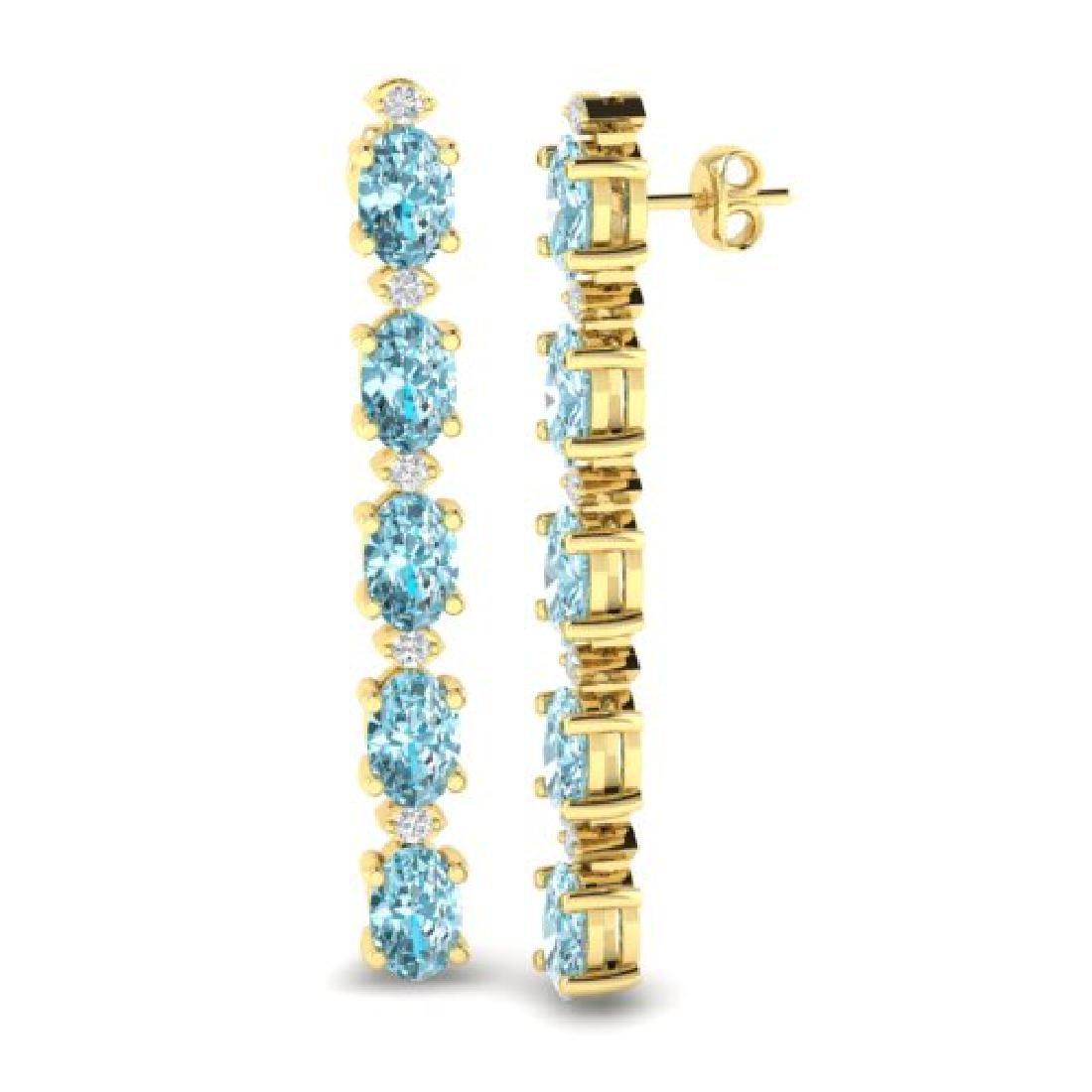 6 CTW Sky Blue Topaz & VS/SI Diamond Tennis Earrings - 2