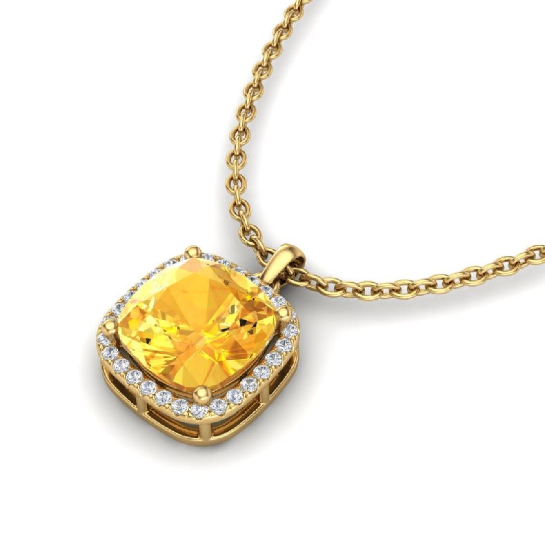 6 CTW Citrine & Micro Pave Halo VS/SI Diamond Necklace