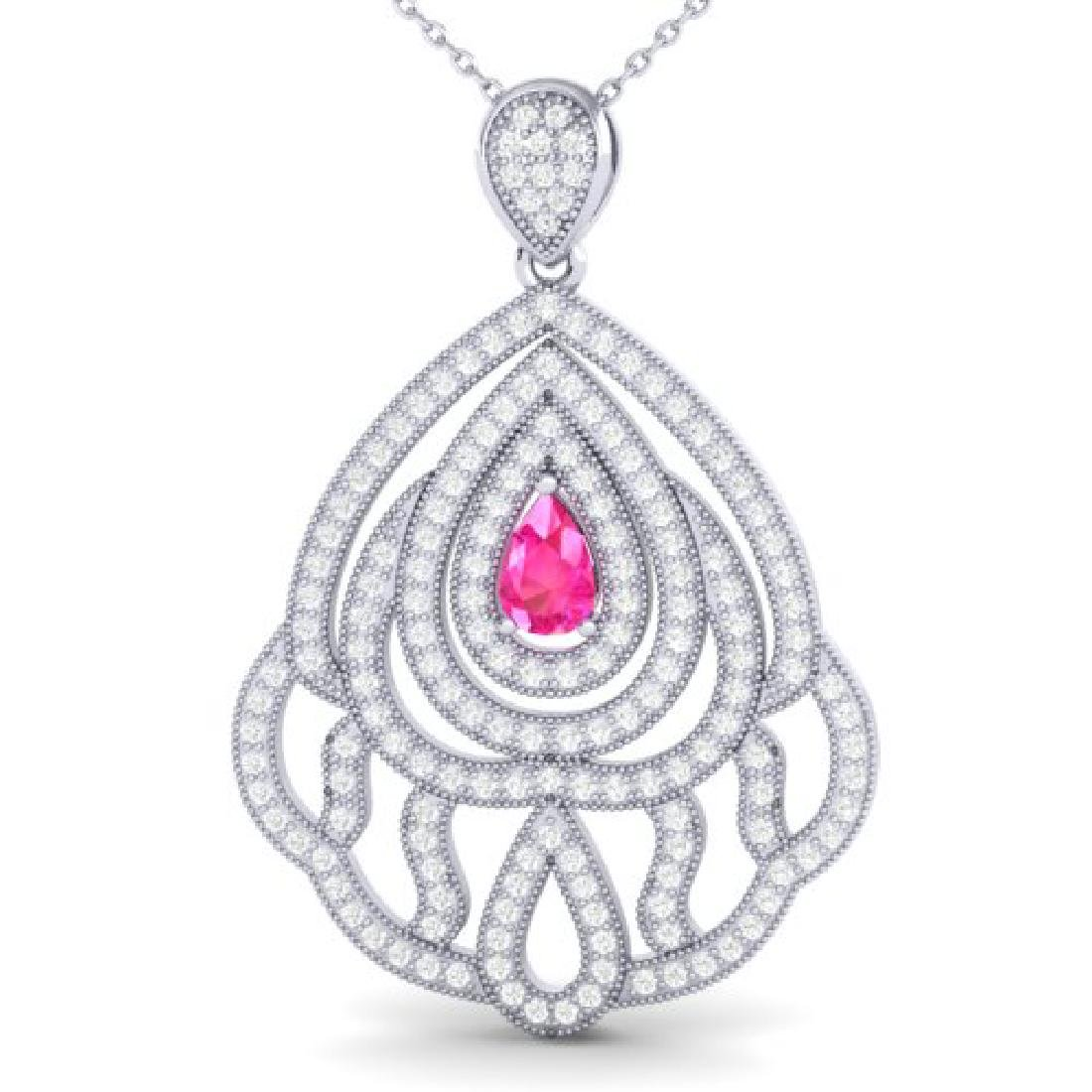 2 CTW Pink Sapphire & Micro Pave VS/SI Diamond Necklace