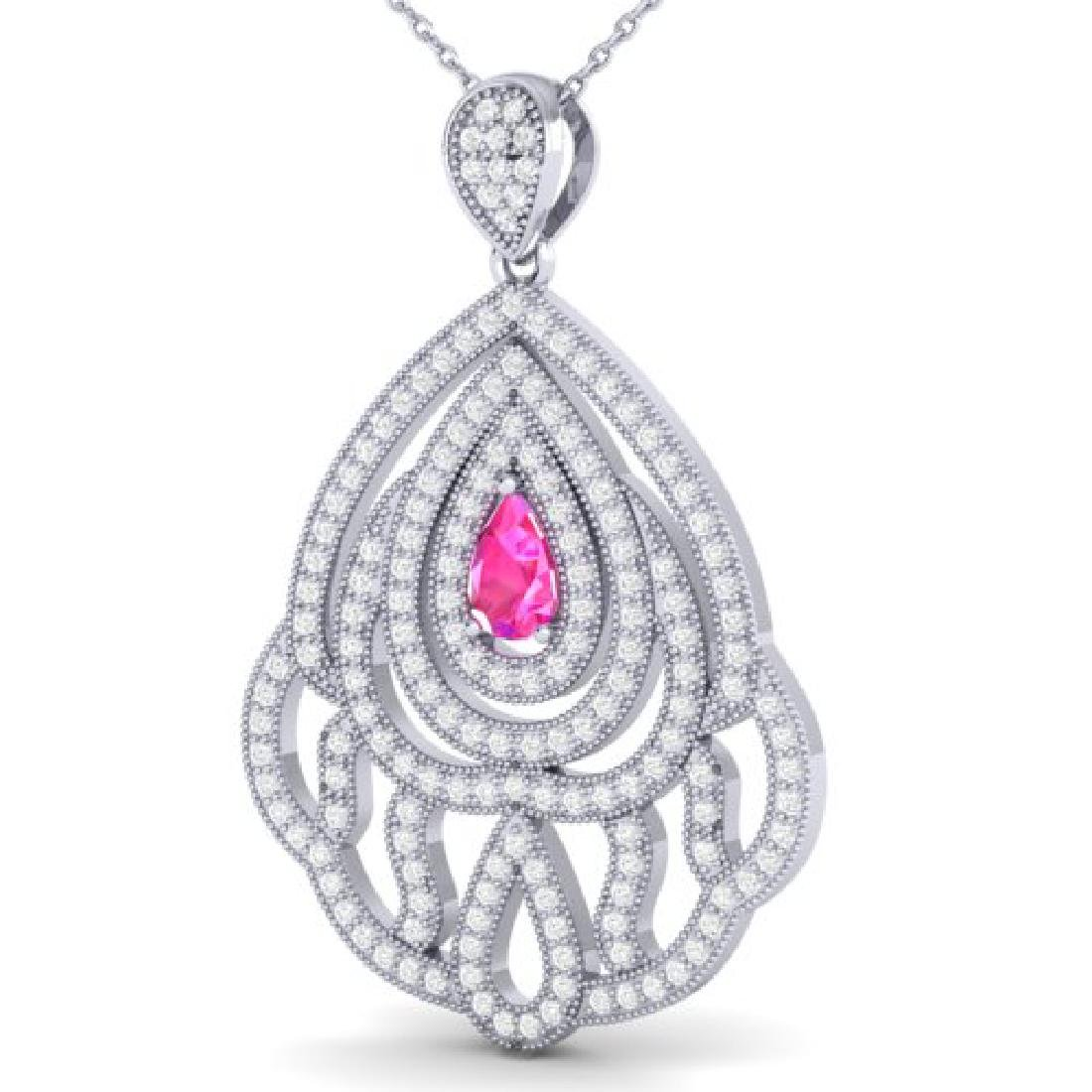 2 CTW Pink Sapphire & Micro Pave VS/SI Diamond Necklace - 2