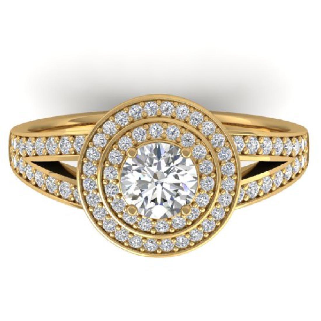 1.15 CTW Certified VS/SI Diamond Art Deco Halo Ring 18K