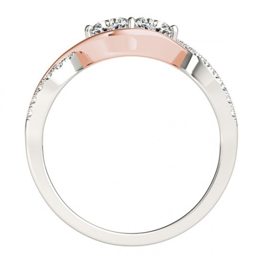 1.25 CTW Certified VS/SI Diamond 2 Stone Ring 14K White - 3