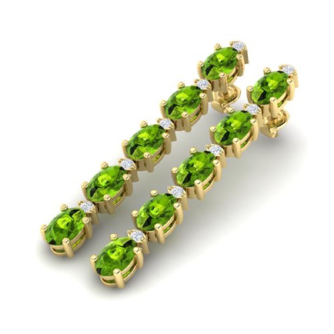 6 CTW Peridot & VS/SI Diamond Tennis Earrings Yellow