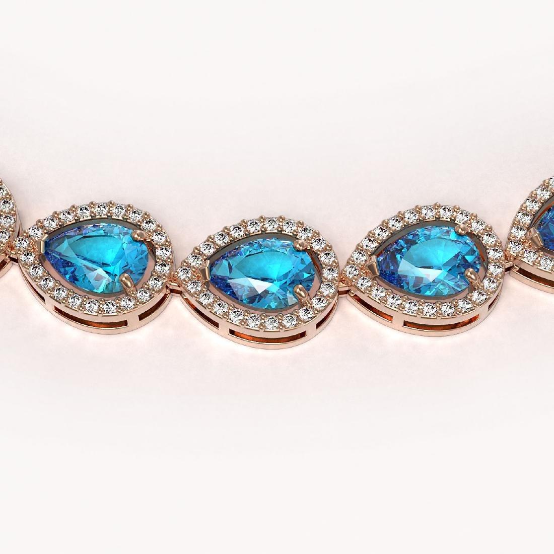 35.13 CTW Swiss Topaz & Diamond Halo Necklace 10K Rose - 3