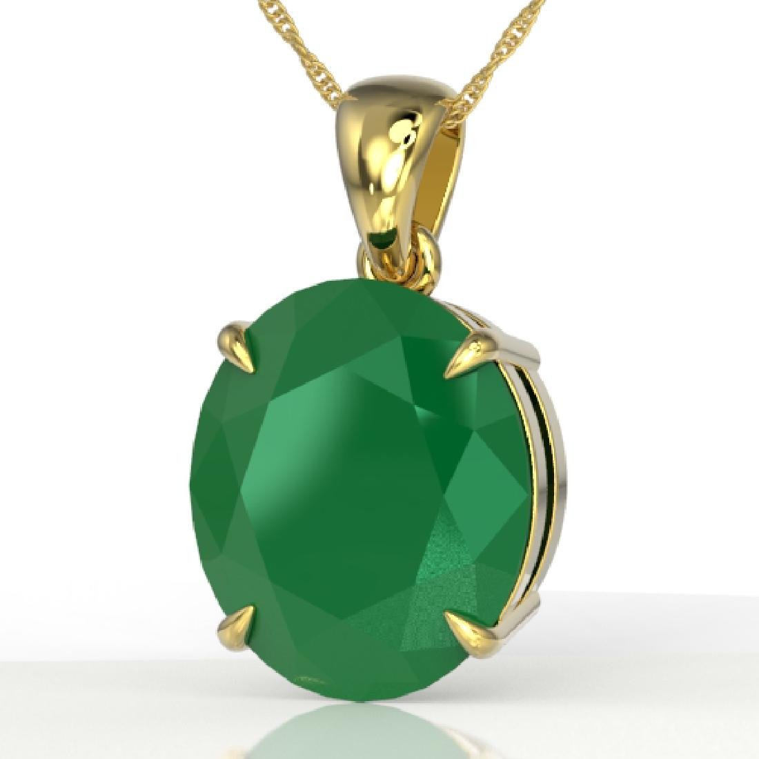 9 CTW Emerald Designer Solitaire Necklace 18K Yellow