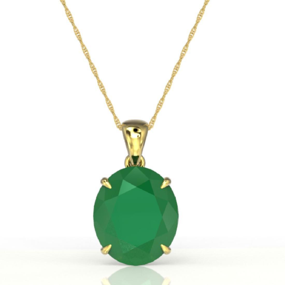 9 CTW Emerald Designer Solitaire Necklace 18K Yellow - 2