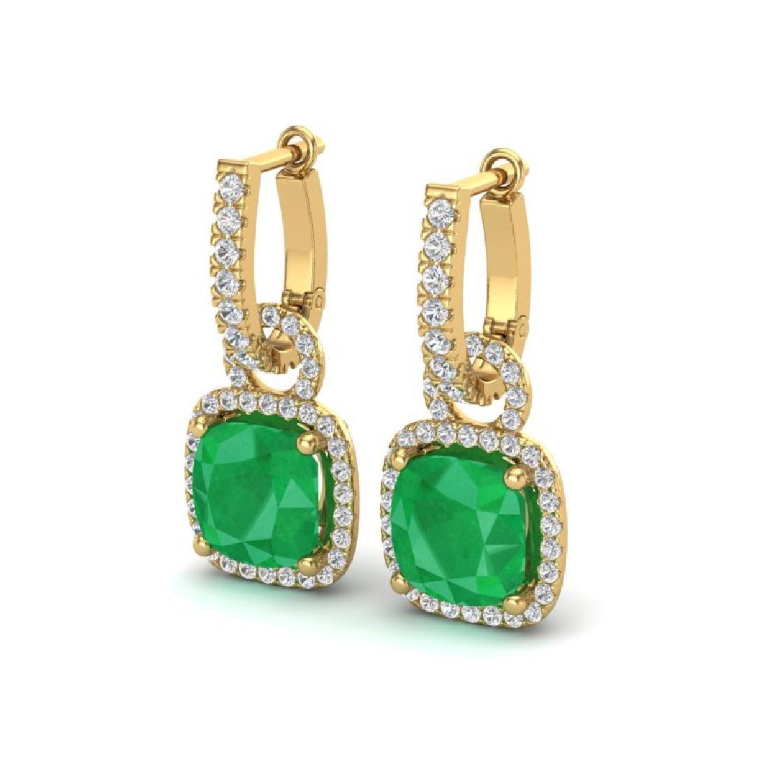 6 CTW Emerald & Micro Pave VS/SI Diamond Earrings 18K