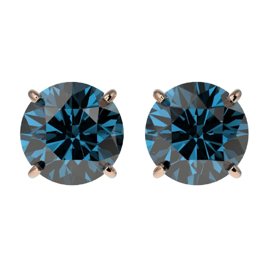 1.95 CTW Certified Intense Blue SI Diamond Solitaire