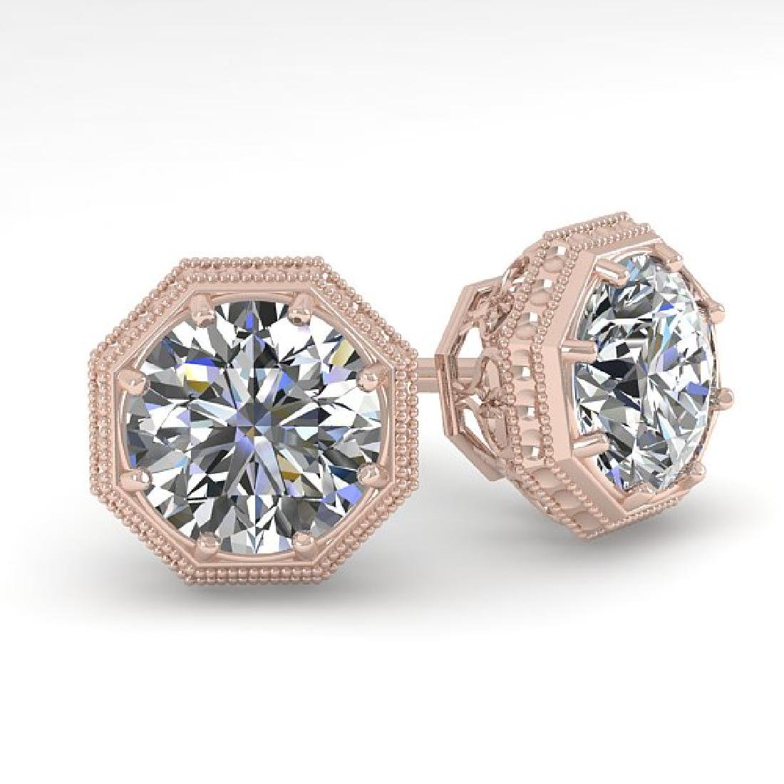 1.05 CTW VS/SI Diamond Stud Solitaire Earrings 14K Rose