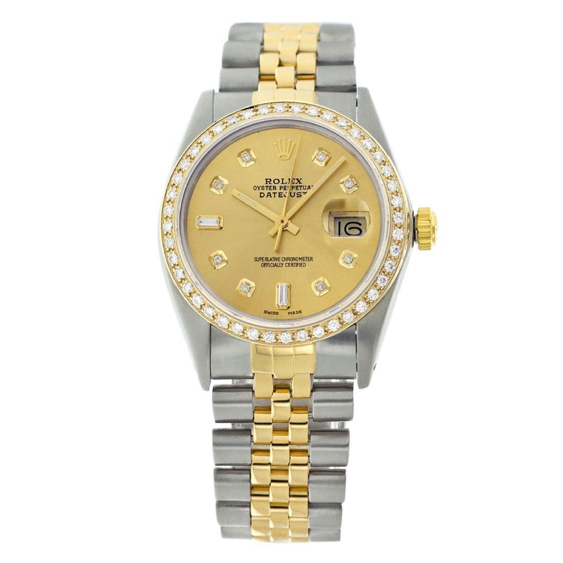 Rolex Men's Two Tone 14K Gold/SS , QuickSet, Diamond