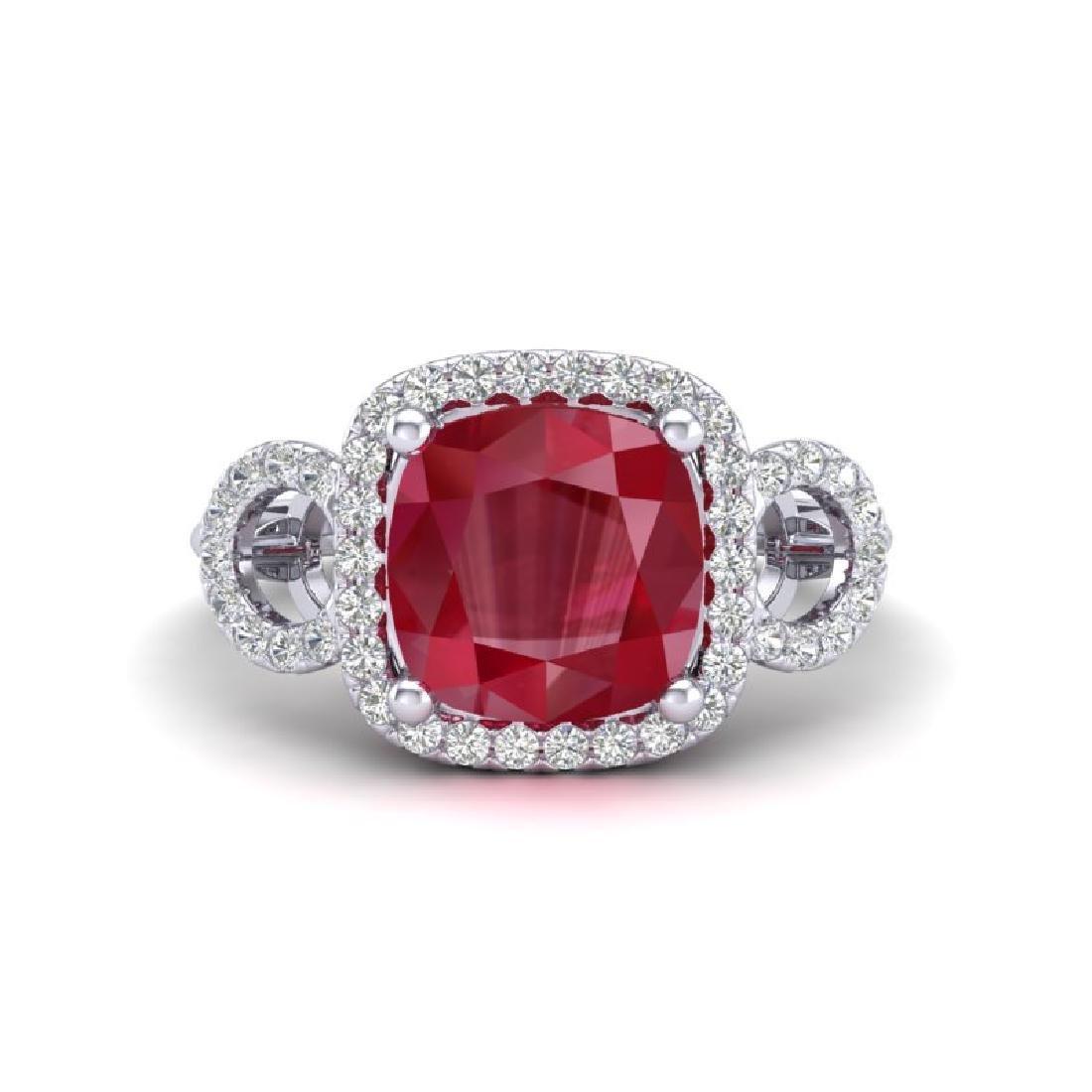 3.15 CTW Ruby & Micro VS/SI Diamond Ring 18K White Gold
