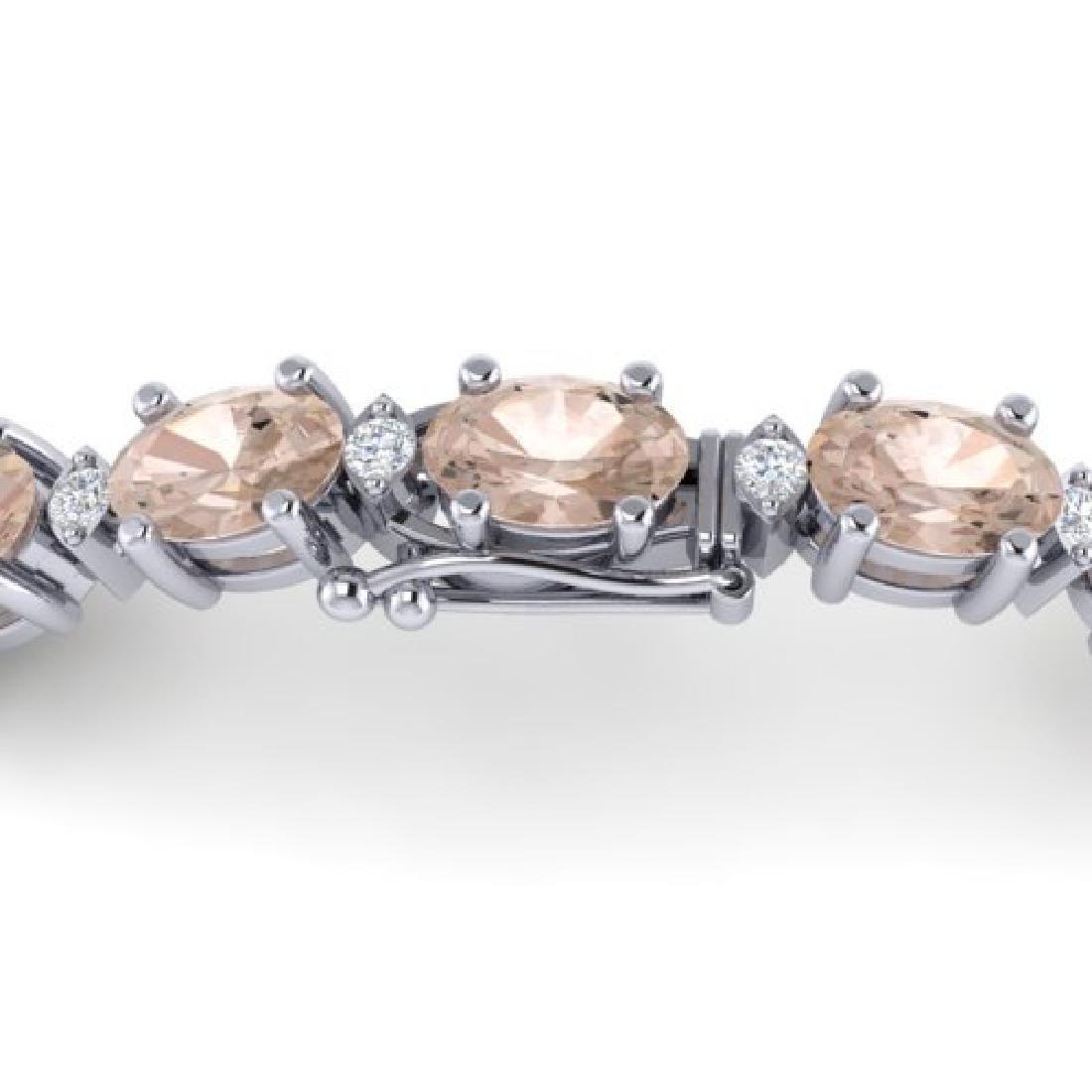 11 CTW Morganite & VS/SI Diamond Eternity Bracelet 10K